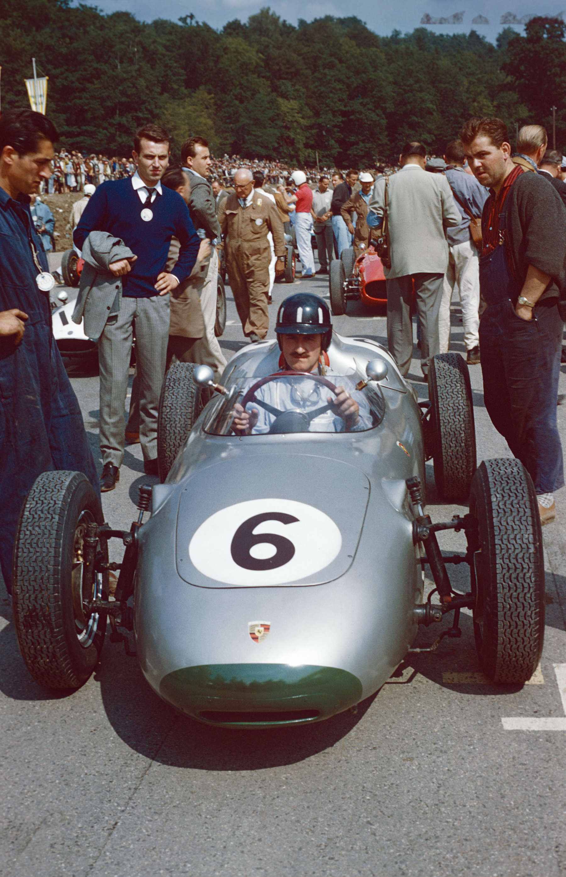 Solitude 1960: Graham Hill im Porsche 718 Formel 2.
