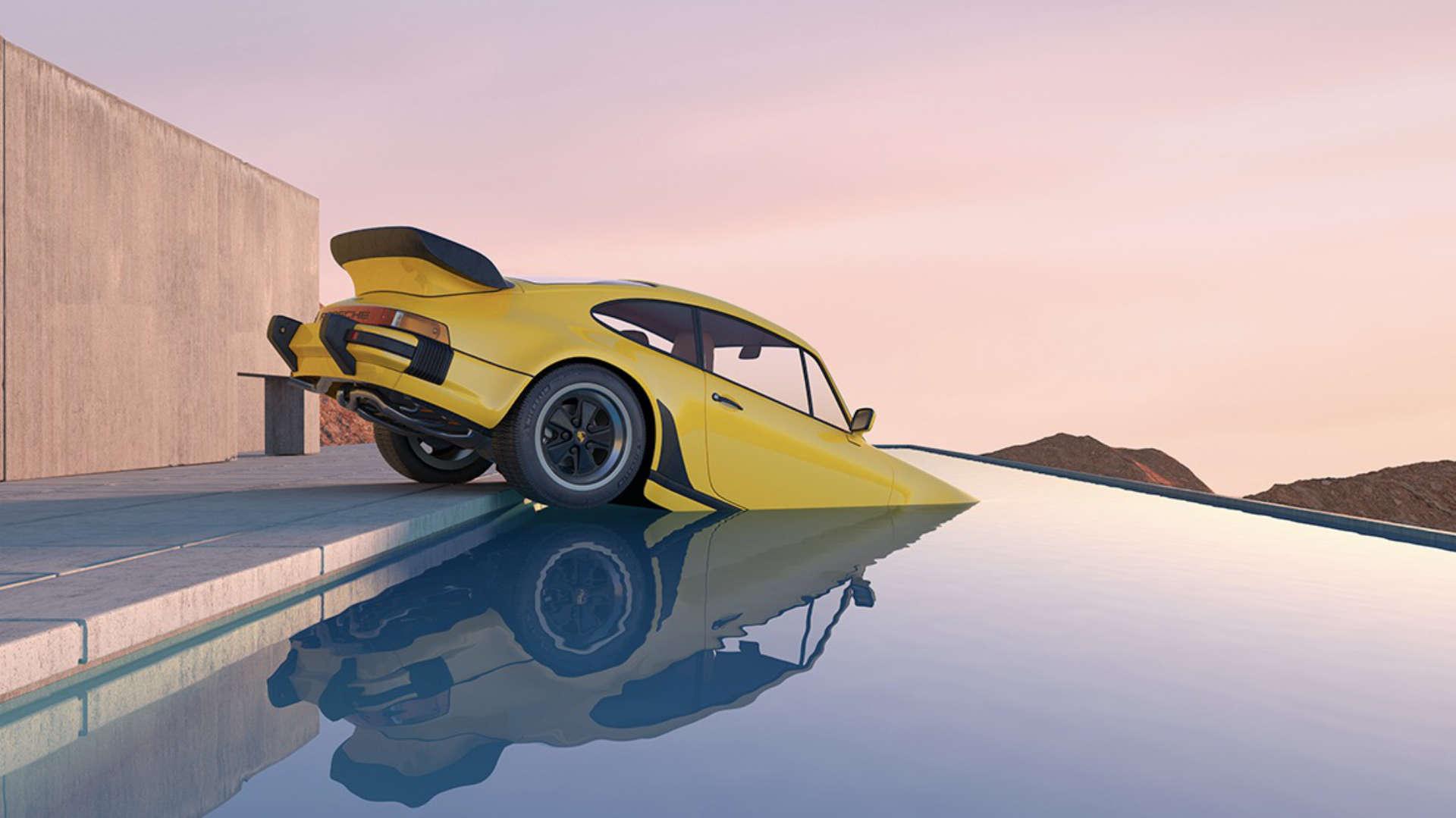 Chris Labrooy gelber 911 Turbo im Pool